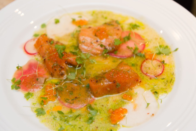 Organic Scottish Salmon with Pickled Winter Vegetables, Micro-Celery, and Salmon Trout Roe